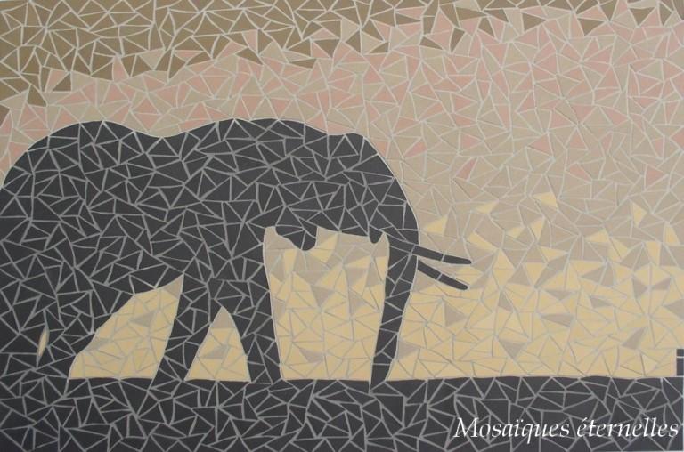 Tableau mosaique elephant