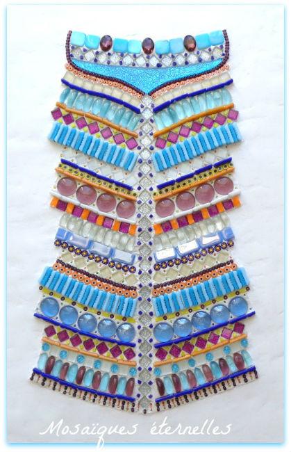Tableau mosaîque ethnique bleu