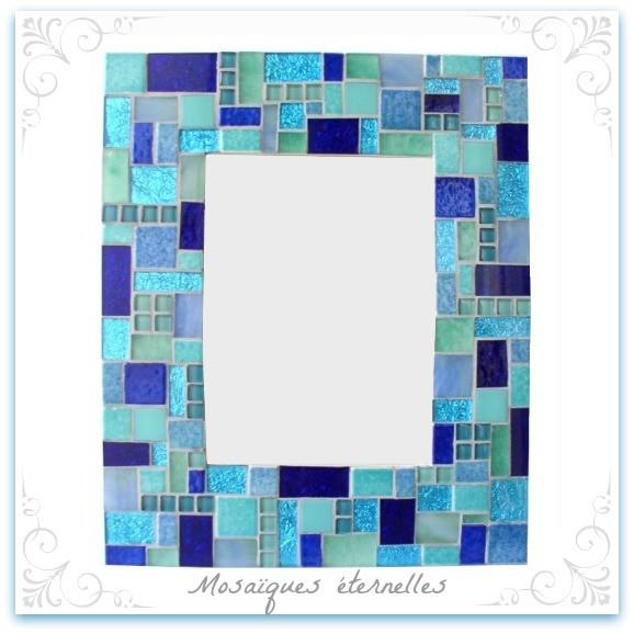 Miroir mosaique patchwork bleu