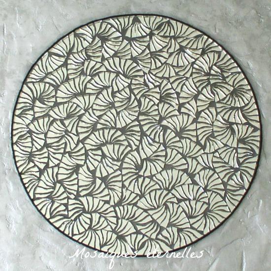 Mosaique contemporaine - Tableau mosaique en miroir Millefleurs