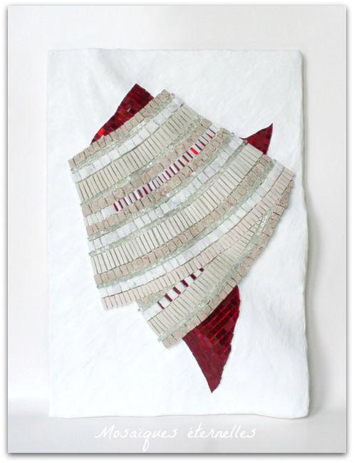 Tableau mosaique contemporaine - Impression textile drapé